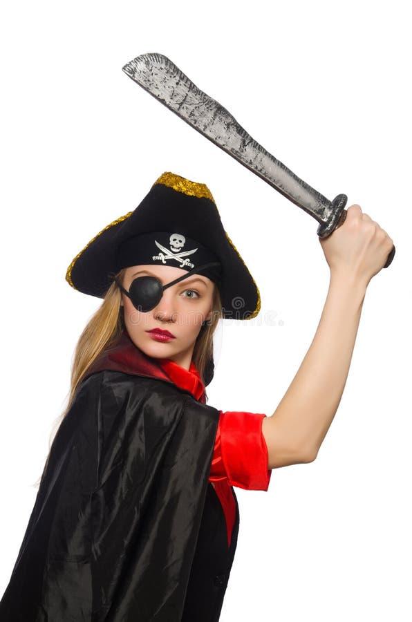 拿着剑的俏丽的海盗女孩被隔绝在白色 免版税库存照片