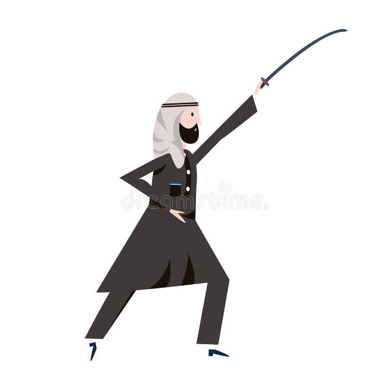 拿着剑的黑全国礼服的阿拉伯人顶上 也corel凹道例证向量 皇族释放例证