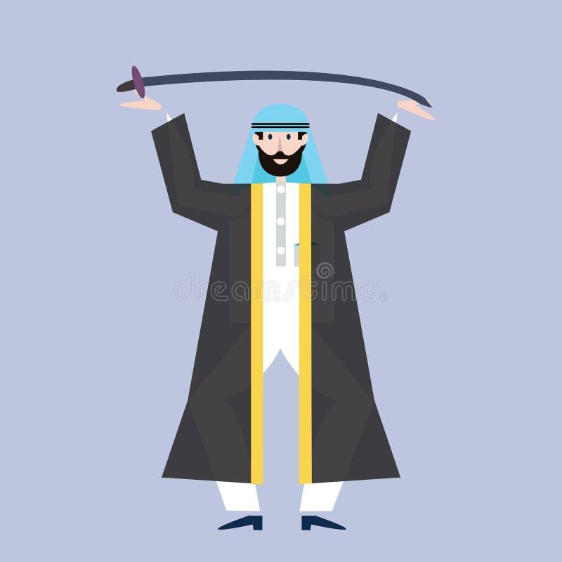 拿着剑的黑全国礼服的阿拉伯人顶上 也corel凹道例证向量 向量例证