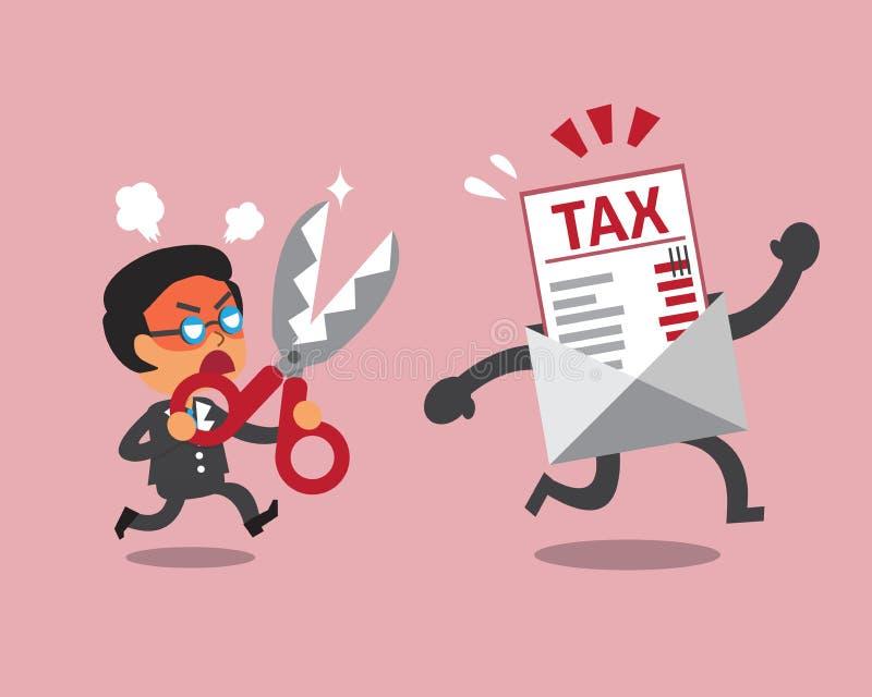 拿着剪刀的动画片商人削减税信件 皇族释放例证