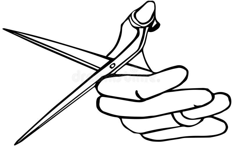 拿着剪刀的手 库存例证