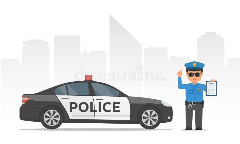拿着剪贴板的交警 动画片警察和警车在都市摩天大楼背景 向量例证