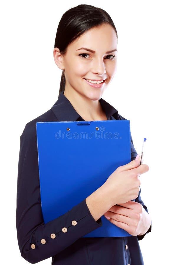 拿着剪贴板的妇女 免版税库存图片
