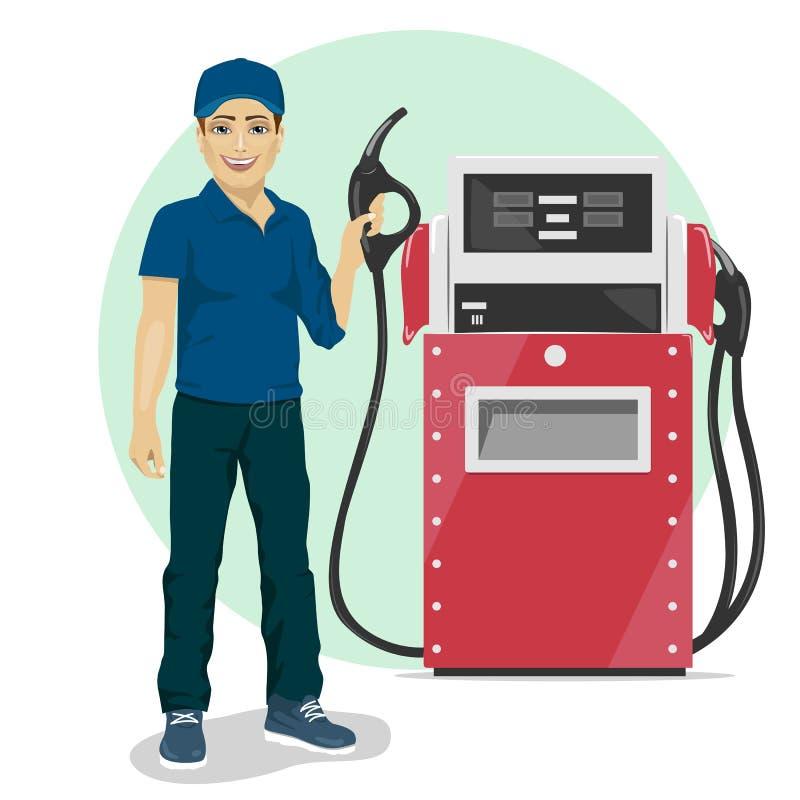 拿着加油泵的加油站工作者站立在燃料分配器旁边 向量例证