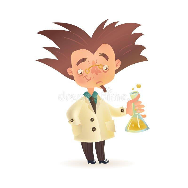 拿着化工烧瓶的实验室外套的分蘖性头发的疯狂的教授 库存例证