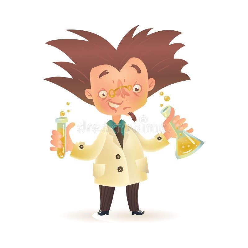 拿着化工烧瓶,试管的实验室外套的疯狂的教授 库存例证
