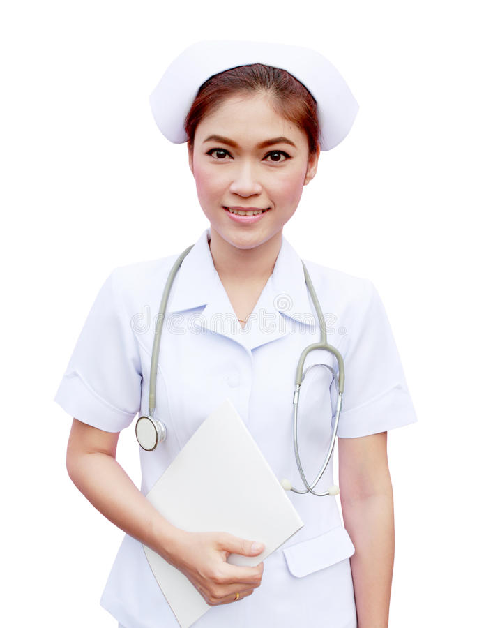 拿着医疗报告和听诊器的年轻人护士 免版税图库摄影