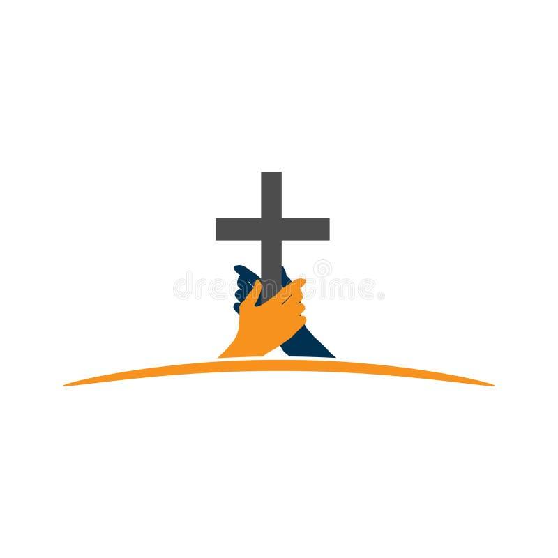 拿着十字架的手 固守的信仰的概念 皇族释放例证