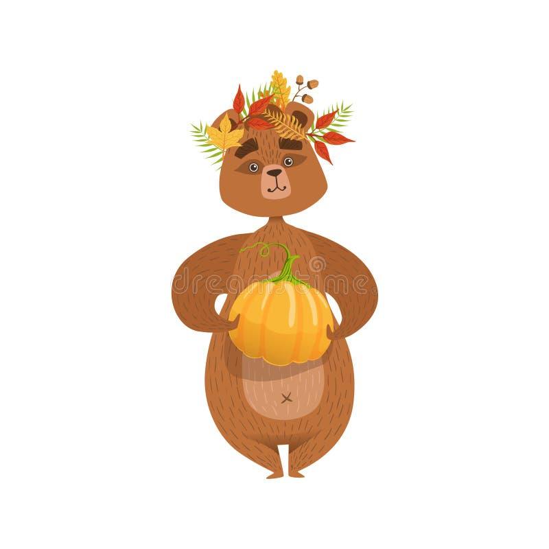 拿着南瓜和佩带下落的叶子花冠例证的娘儿们动画片棕熊字符 皇族释放例证