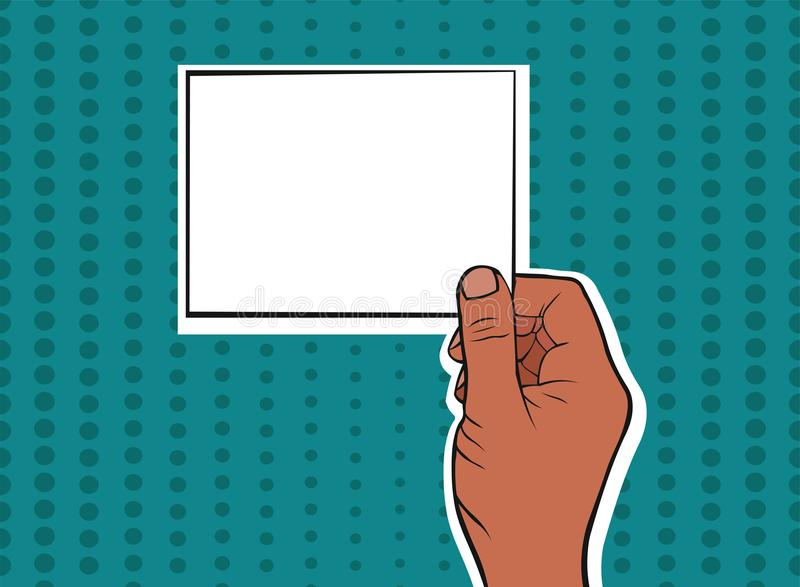 拿着卡片的非裔美国人的男性手 库存例证