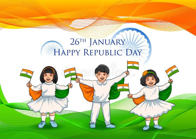 拿着印度的旗子的充满自豪感的印地安孩子在愉快的共和国天 向量例证