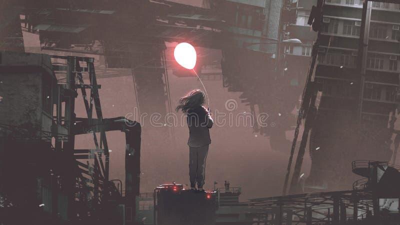 拿着发光的气球的妇女在未来派城市 皇族释放例证