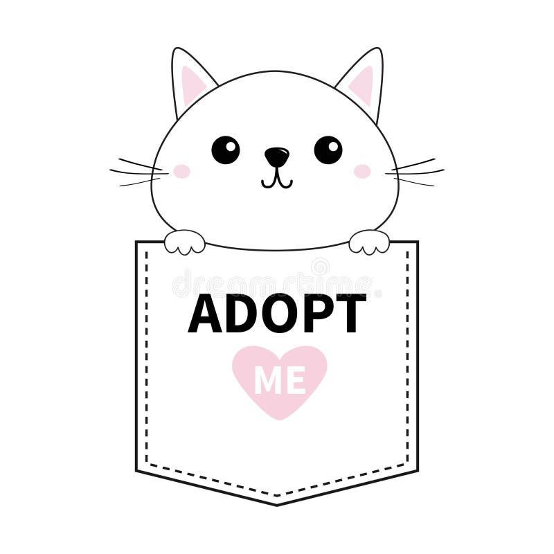 拿着口袋的逗人喜爱的猫 采取我 桃红色重点 动物动画片被画的现有量查出的向量白色 小猫全部赌注字符 破折号线 宠物汇集 衬衣t 向量例证