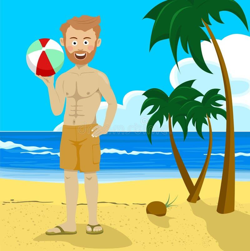 拿着可膨胀的球的年轻行家人站立在与棕榈树的热带海滩 库存例证