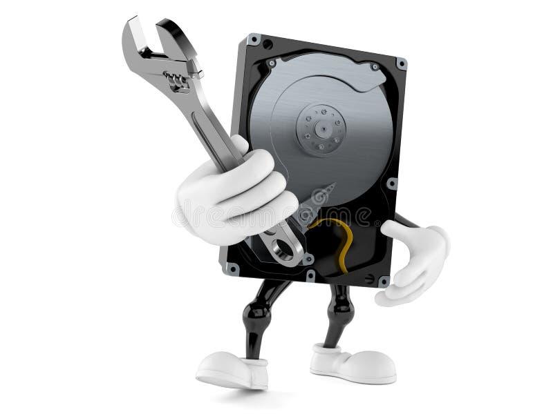 拿着可调扳手的硬盘驱动器字符 库存例证
