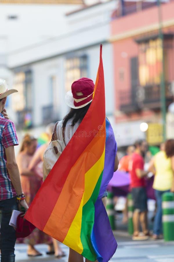 拿着同性恋自豪日旗子的人背面图 免版税图库摄影