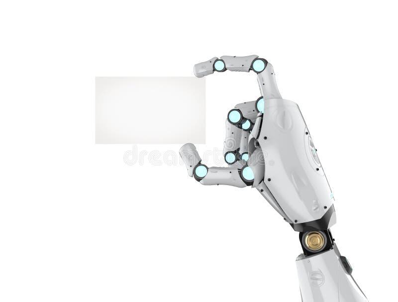拿着名片的靠机械装置维持生命的人 向量例证