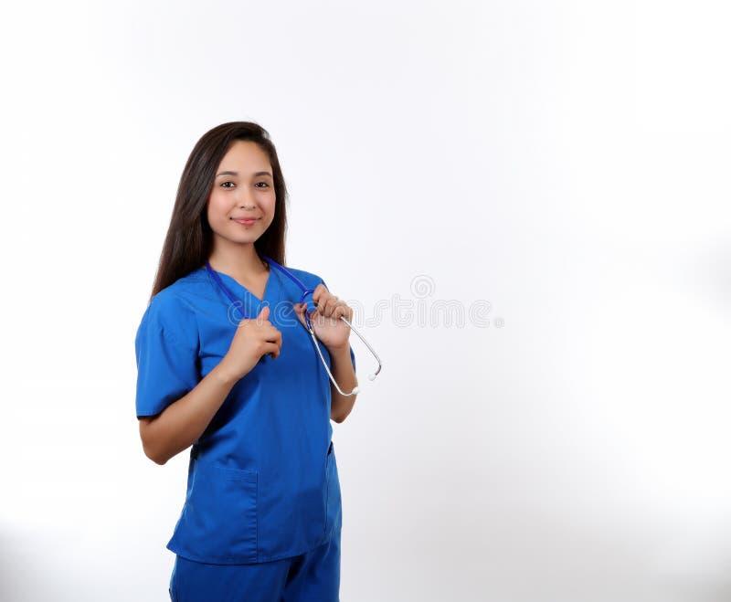 拿着听诊器的护士 免版税图库摄影