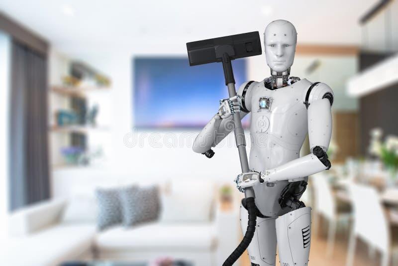 拿着吸尘器的机器人 皇族释放例证