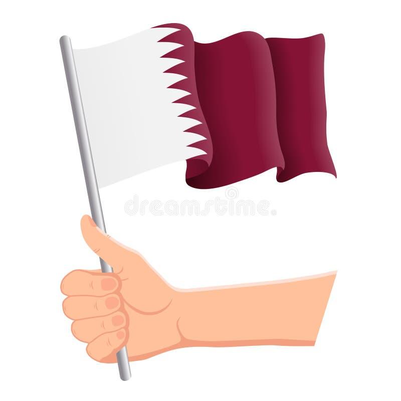 拿着和挥动卡塔尔的国旗的手 爱好者,独立日,爱国概念 r 库存例证
