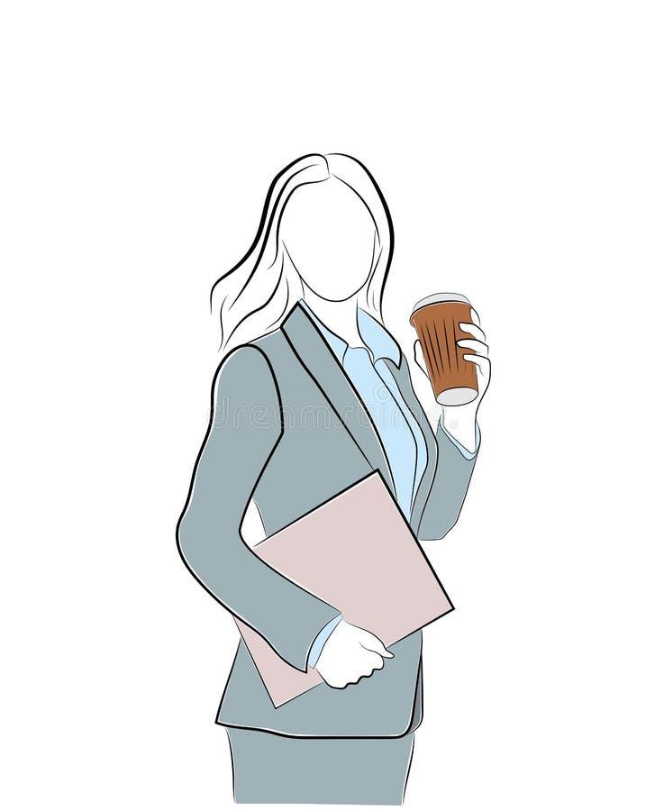拿着咖啡的女实业家 背景中断咖啡新月形面包杯子甜点 在工作前的高兴 也corel凹道例证向量 库存例证