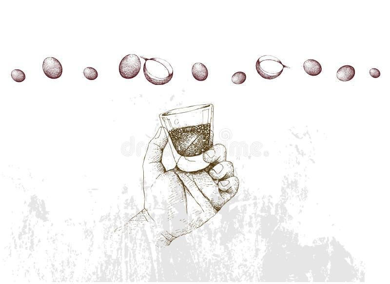 拿着咖啡的射击与咖啡开花的手 皇族释放例证