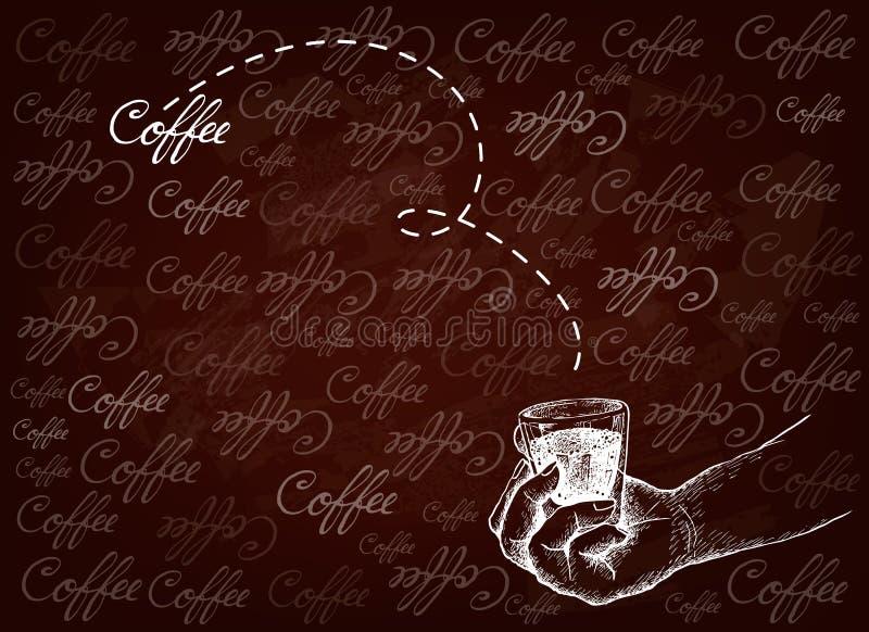 拿着咖啡的射击手手拉的背景 向量例证