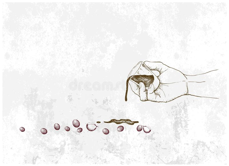 拿着咖啡的射击手用咖啡豆 皇族释放例证