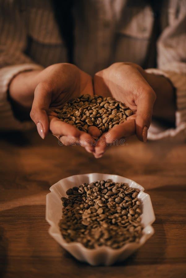 拿着咖啡豆的妇女选择聚焦 免版税库存图片