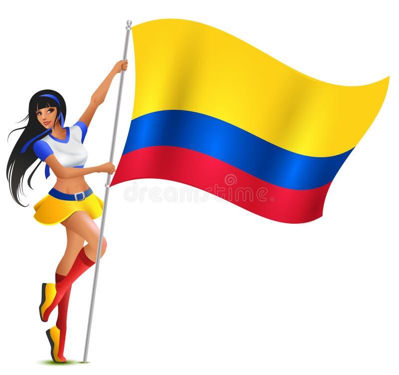 拿着哥伦比亚的旗子的美丽的少妇橄榄球啦啦队员 库存例证