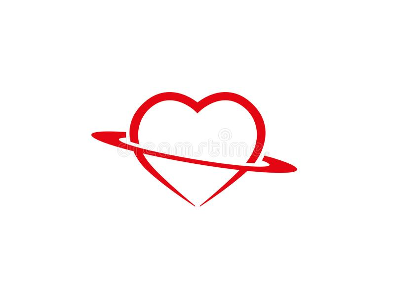 拿着商标设计的圈子心脏 皇族释放例证
