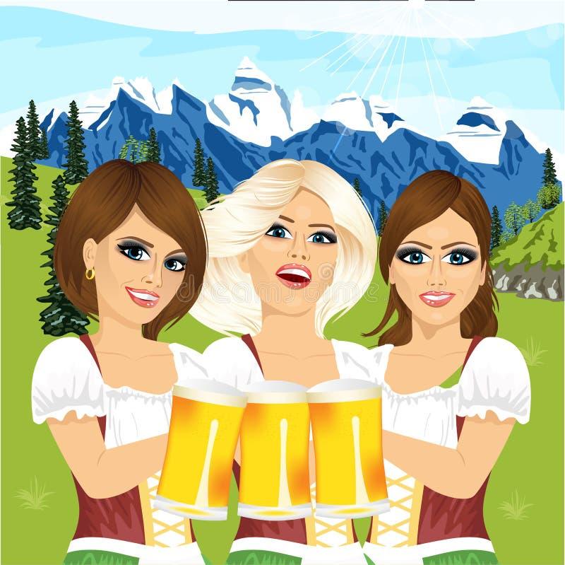 拿着啤酒大啤酒杯的三个oktoberfest女孩反对与山的国家场面 库存例证