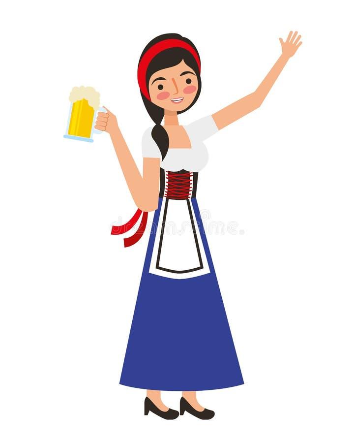 拿着啤酒杯的巴法力亚妇女 向量例证