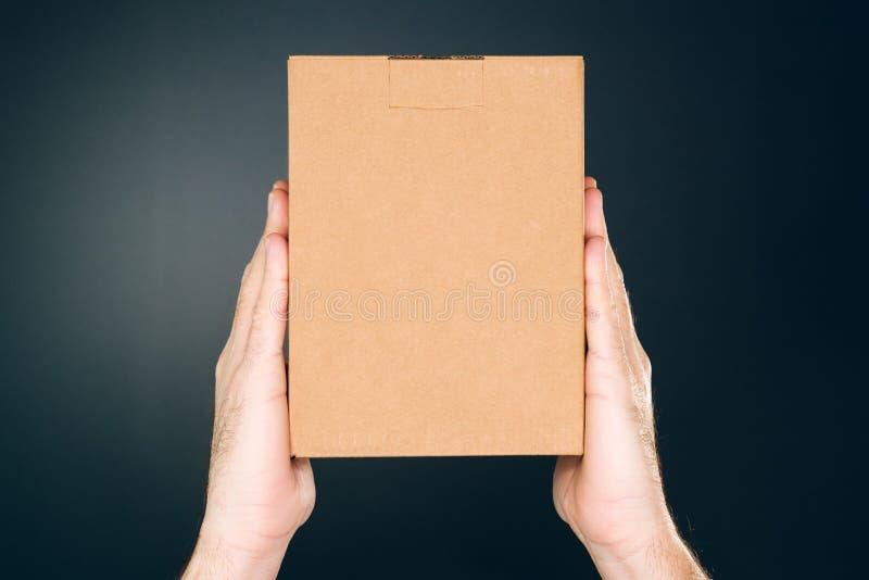 拿着嘲笑的人纸板箱包裹设计 免版税库存照片