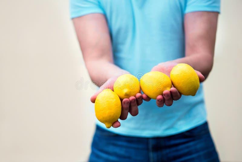拿着四个明亮的黄色柠檬的男性手特写镜头  站立对蜜桔墙壁的人给或提供的柑橘水果 免版税图库摄影