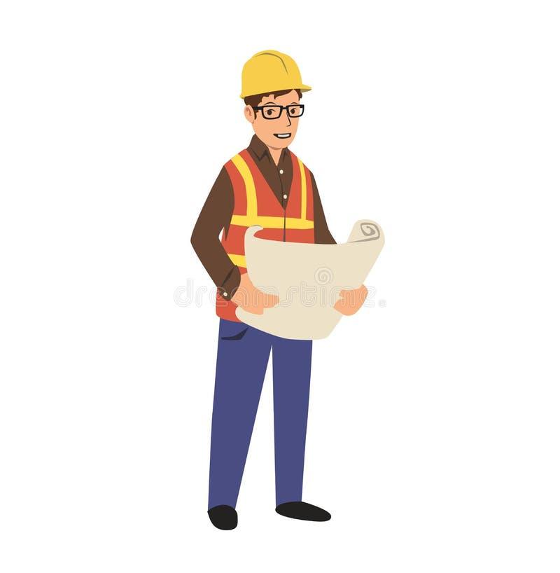 拿着图纸的安全帽的年轻建筑工程师 平的传染媒介例证 背景查出的白色 向量例证