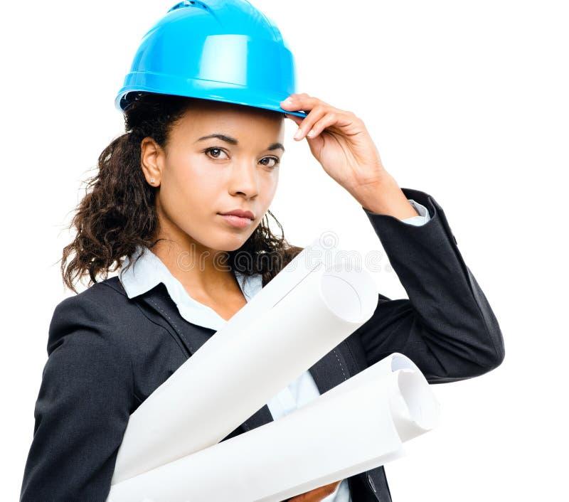 拿着图纸isol的非裔美国人的女实业家建筑师 库存照片