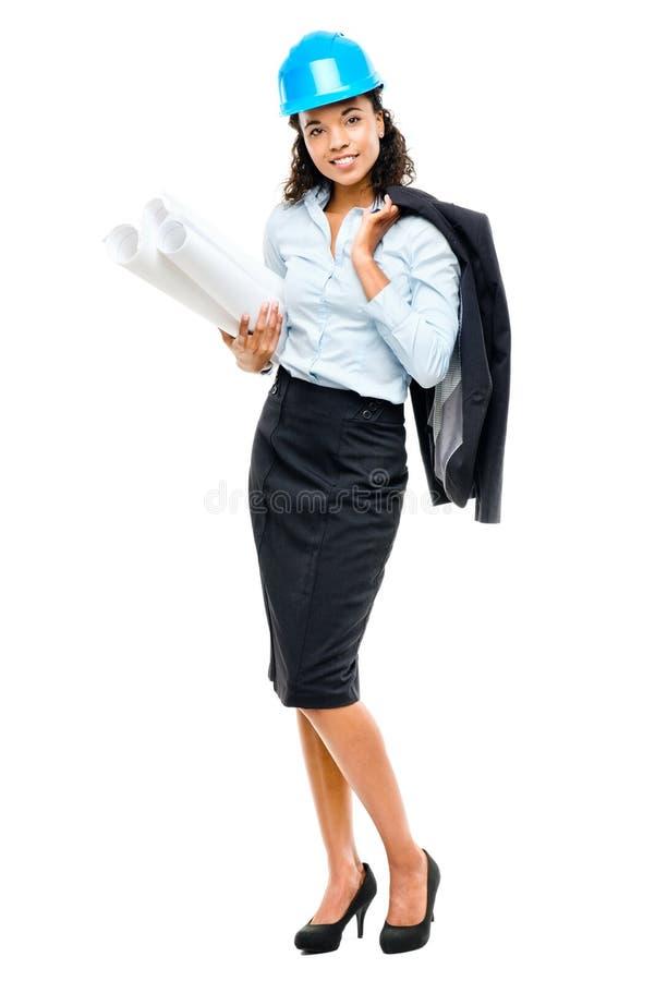 拿着图纸isol的非裔美国人的女实业家建筑师 库存图片
