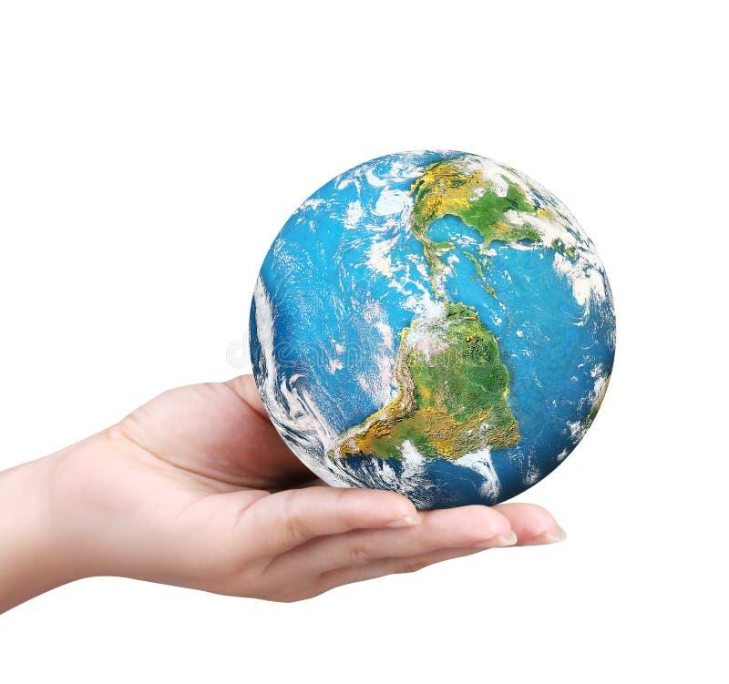 拿着图象的地球元素人的手装备由美国航空航天局 免版税库存照片