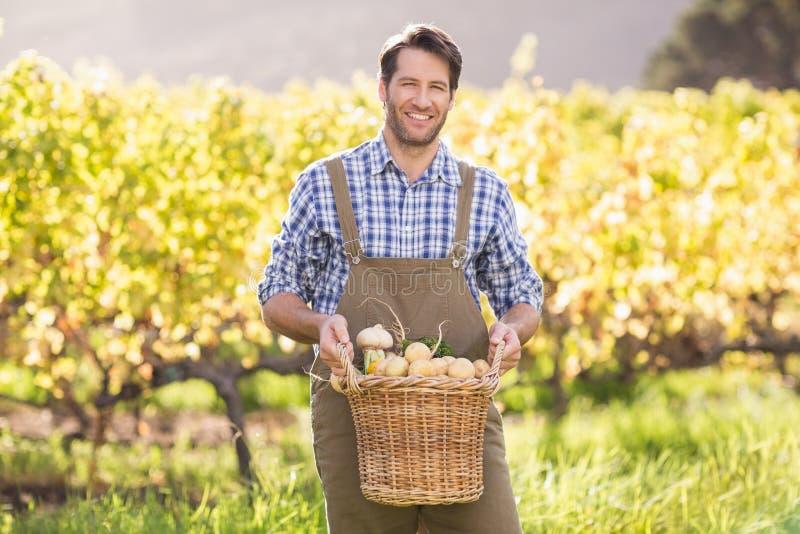 拿着土豆的篮子微笑的农夫 库存照片