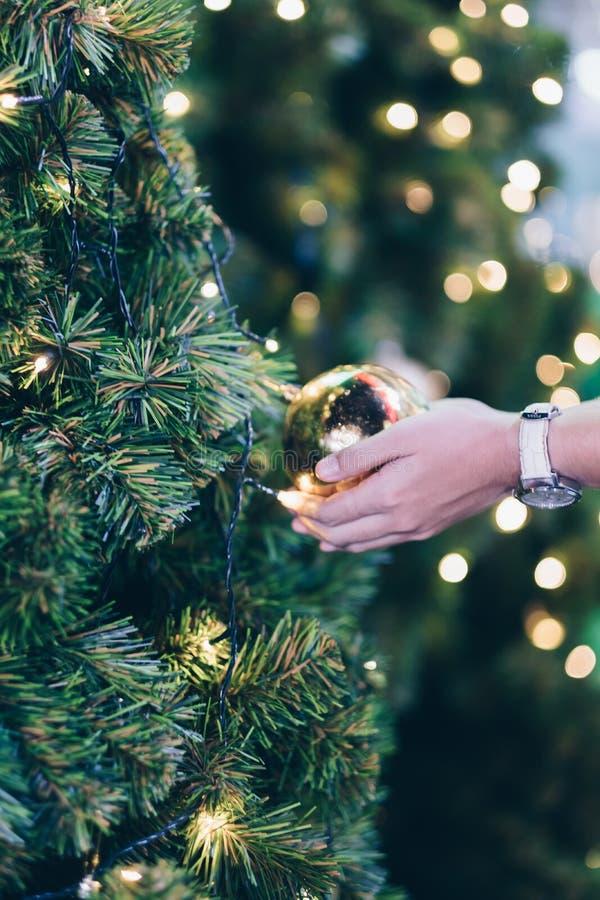 拿着圣诞装饰、礼物盒和松树分支的妇女手 免版税库存照片