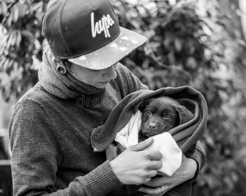 拿着在一条毯子的一只小狗在狗展示的公园 免版税图库摄影