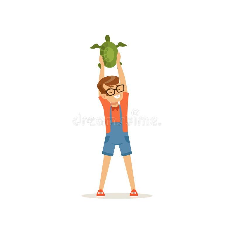 拿着在他的头的微笑的男孩绿海龟 获得的小孩与热带宠物的乐趣 家畜 孩子 向量例证