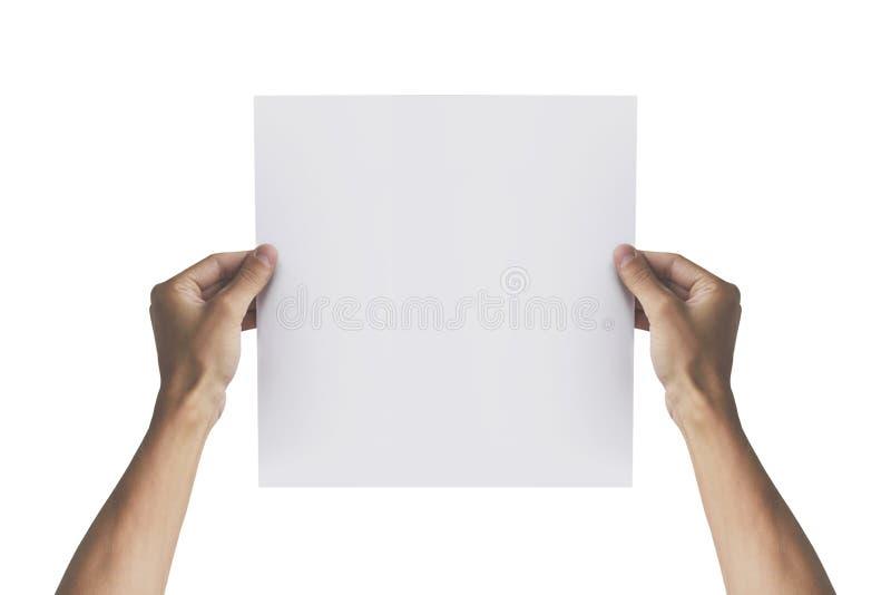 拿着在右手的两只手方格纸 传单presen 免版税图库摄影