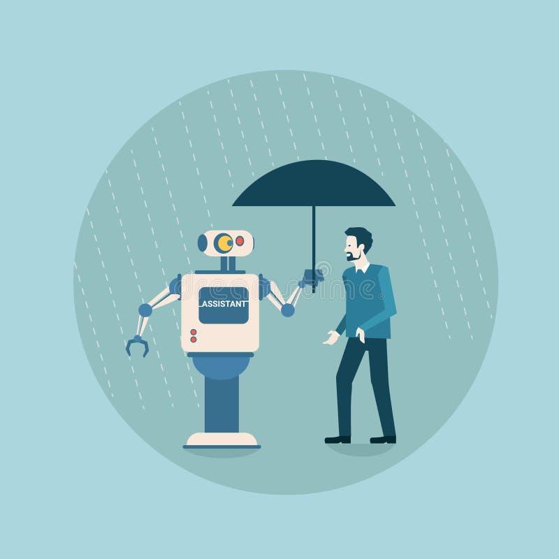 拿着在商人保护未来派人工智能机制技术的现代机器人伞 皇族释放例证
