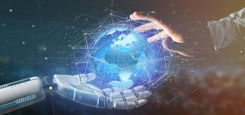 拿着在地球地球概念的靠机械装置维持生命的人手一个被连接的网络在一个未来派接口- 3d翻译 库存图片