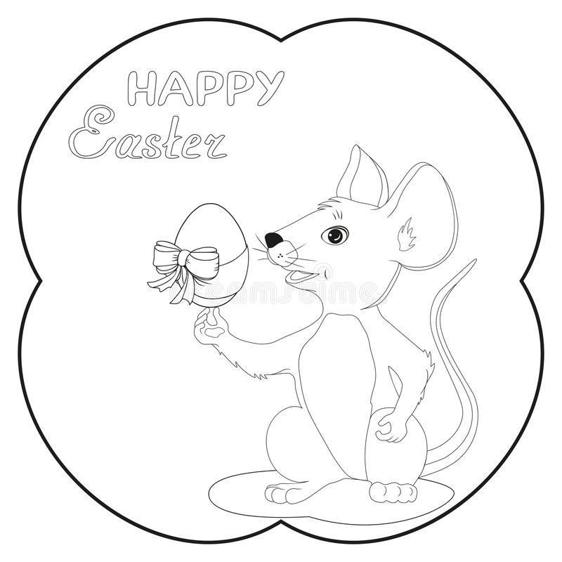 拿着在复活宴餐的老鼠的例证鸡蛋孩子的能装饰卡片设计 皇族释放例证