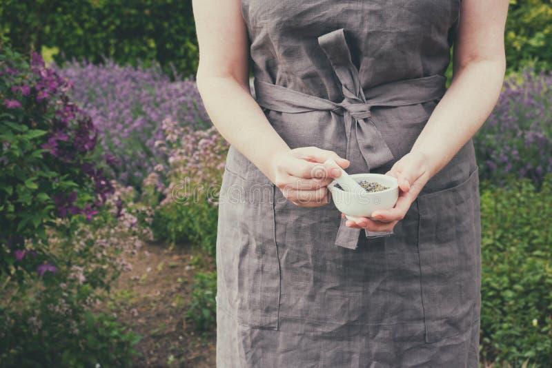 拿着在她的手上愈合的草本的灰浆妇女 中医师在庭院里收集药用植物 库存图片
