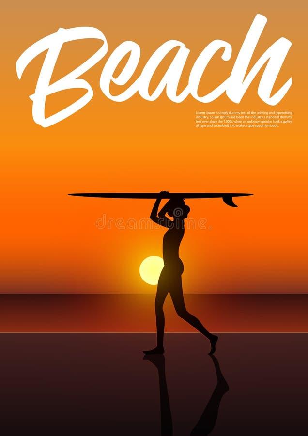 拿着在她的头上的比基尼泳装的美丽的性感的冲浪者女孩冲浪板 皇族释放例证