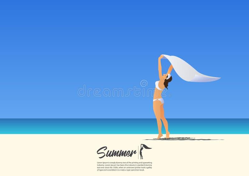 拿着在她的头上的白色比基尼泳装的愉快的女孩白色围巾在白色沙子海滩 皇族释放例证